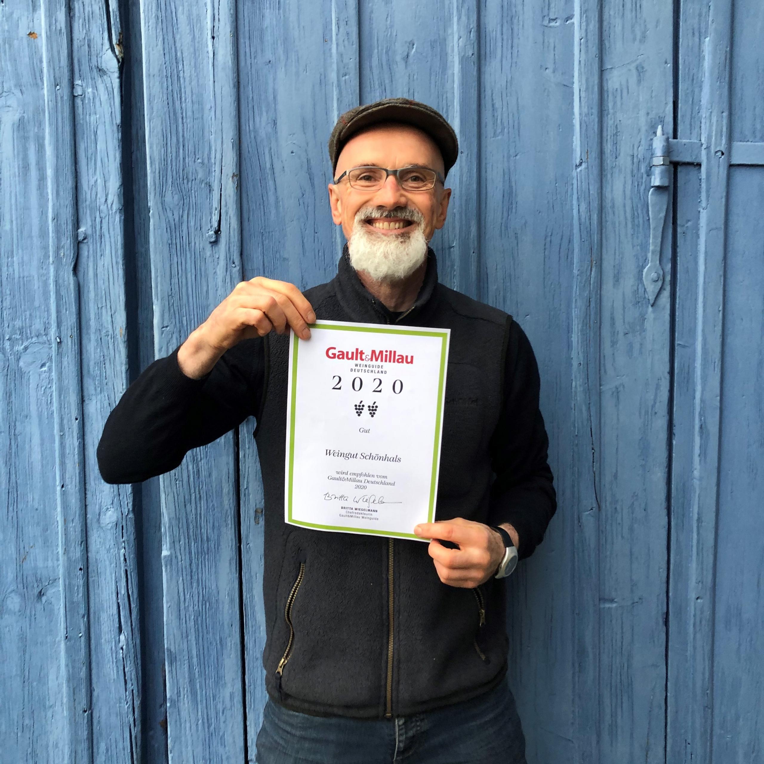 Weingut Schönhals Martin Knab freut sich über die Auszeichnung im Gault&Millau Weinführer 2020